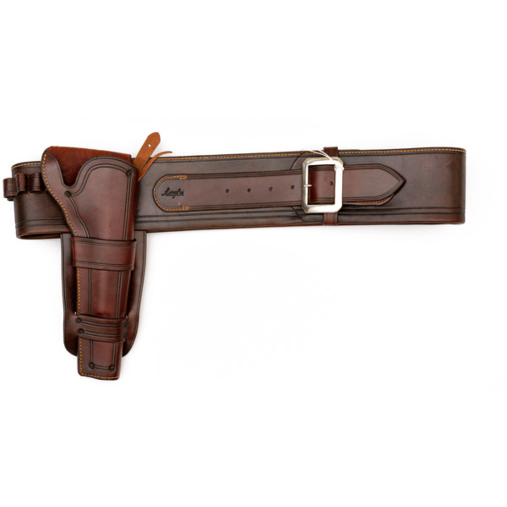custom made tooled leather holster and cartridge belt
