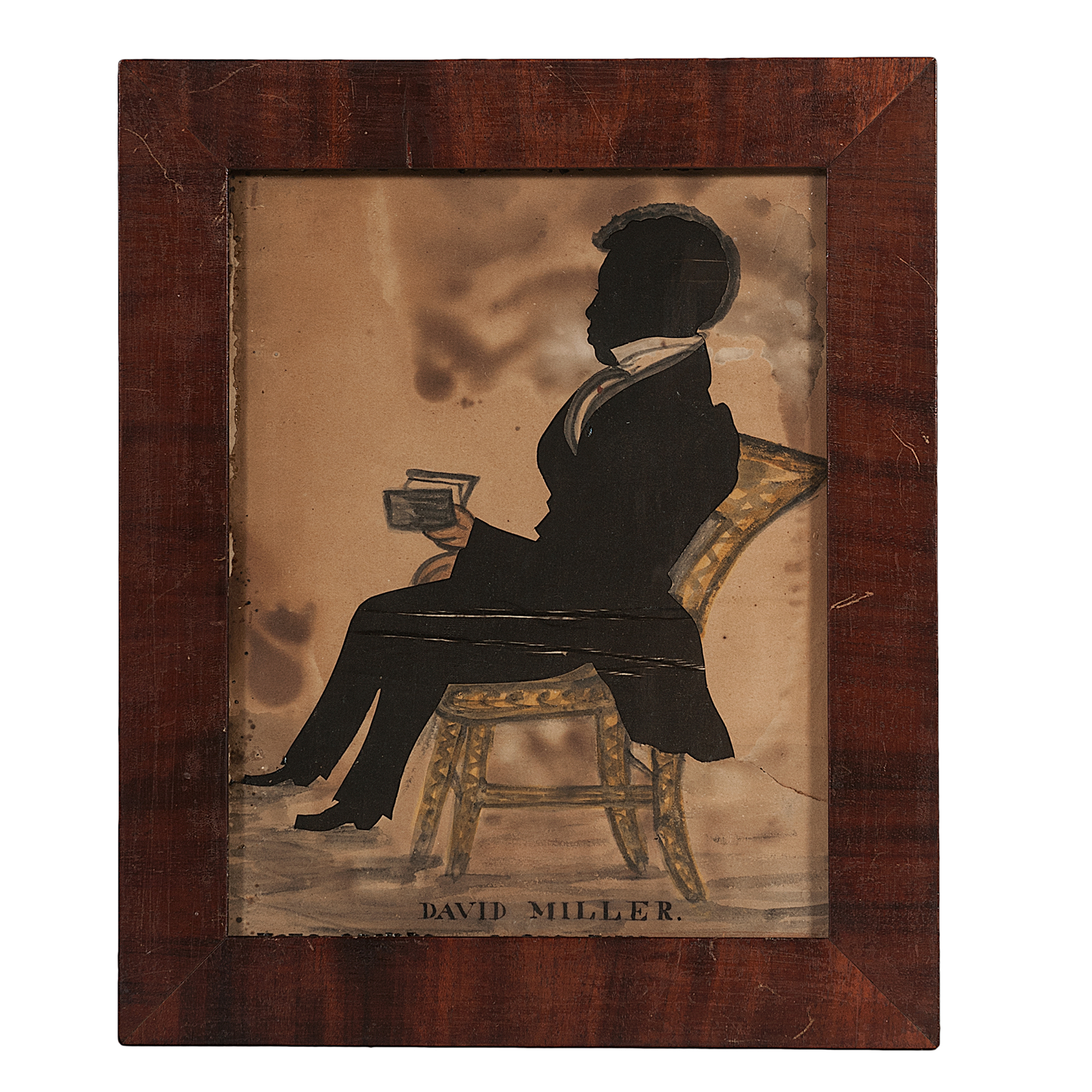 Profile Silhouette of African-American Man in Fancy Chair, Inscribed ...