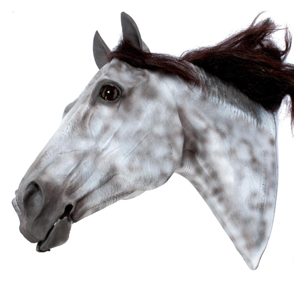 Life Size Plastic Dapple Gray Horse Head Display Mannequin